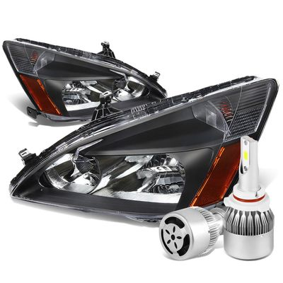 03-07 Honda Accord Replacement Headlight Amber Reflector (Black Housing)+6000K White LED w/ Fan