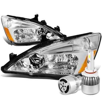 03-07 Honda Accord Replacement Headlight Amber Reflector (Chrome Housing)+6000K White LED w/ Fan