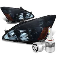 03-07 Honda Accord Replacement Headlight Amber Reflector (Smoke Lens)+6000K White LED w/ Fan