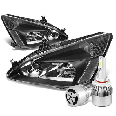 03-07 Honda Accord Replacement Headlight Clear Reflector (Black Housing)+6000K White LED w/ Fan