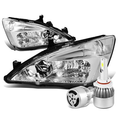 03-07 Honda Accord Replacement Headlight Clear Reflector (Chrome Housing)+6000K White LED w/ Fan