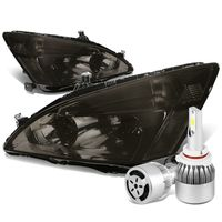 03-07 Honda Accord Replacement Headlight Clear Reflector (Smoke Lens)+6000K White LED w/ Fan