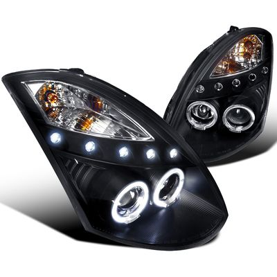 03-07 Infiniti G35 2Dr Coupe Dual Halo LED Projector Headlights - Black (HID Model)