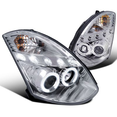 03-07 Infiniti G35 2Dr Coupe Dual Halo LED Projector Headlights - Chrome (HID Model)