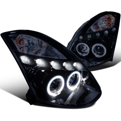03-07 Infiniti G35 2Dr Coupe Dual Halo LED Projector Headlights - Gloss Black (HID Model)
