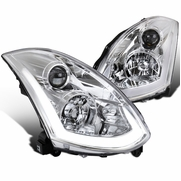 03-07 Infiniti G35 2DR Coupe LED DRL Tube [Sequential Signal] Projector Headlights - Chrome