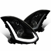 03-07 Infiniti G35 Coupe Black Smoke LED DRL & Sequential Signal Projector Headlights