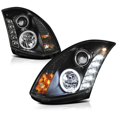 03-07 Infiniti G35 Coupe Euro LED Strip Projector Headlights - Black