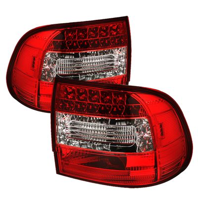 03-07 Porsche Cayenne Euro Style LED Tail Lights - Red / Clear ALT-YD-PCAY03-LED-RC By Spyder