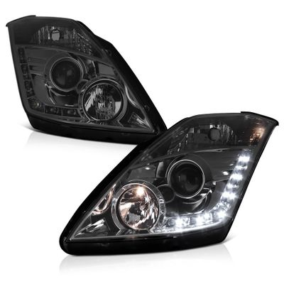 03-08 Nissan 350Z (HID Model) Z33 Euro Style LED DRL Projector Headlights - Smoked