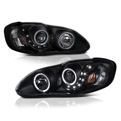 03-08 Toyota Corolla Angel Eye Halo & LED Strip Projector Headlights - Black