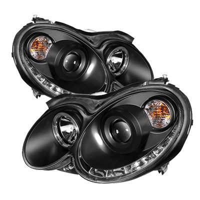 03-09 Mercedes Benz CLK-Class LED DRL Projector Headlights - Black