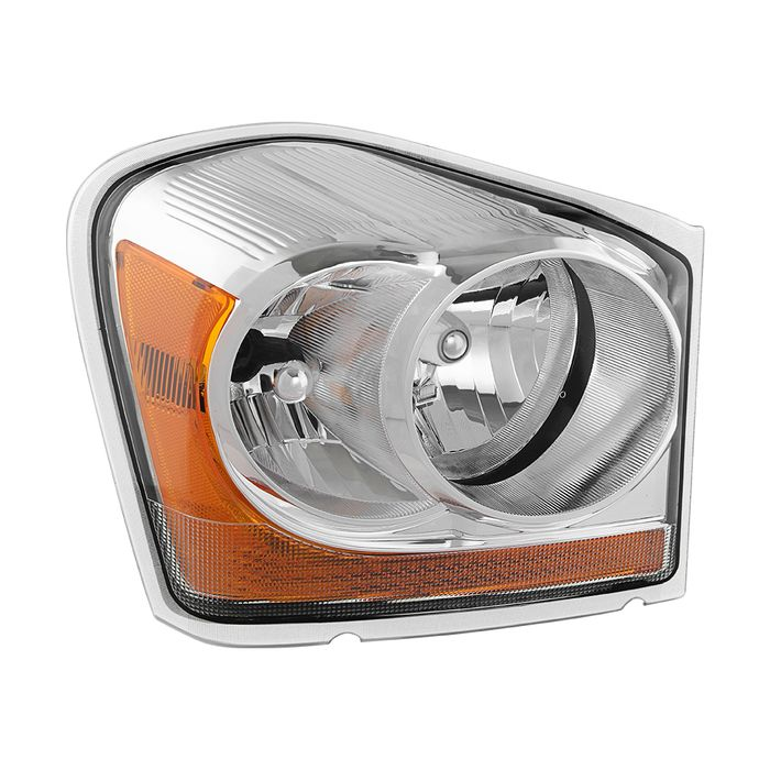HEADLIGHTSDEPOT Chrome Housing Halogen Headlights Compatible with Dodge Durango 2004-2005 Includes Left Driver and Right Passenger Side Headlamps
