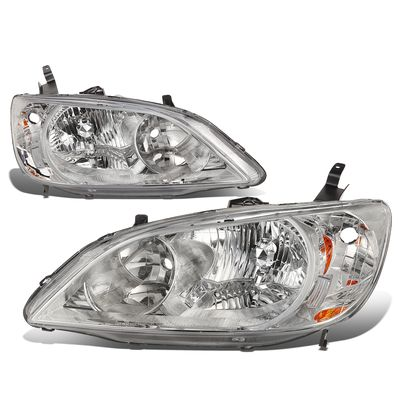 04-05 Honda Civic 2/4 Door Model Headlight Assembly (Driver & Passenger Side)