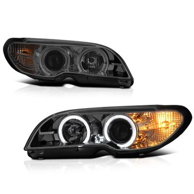 04-06 BMW 3-Series E46 2-Door Coupe Angel Eye Halo Projector Headlights - Smoked