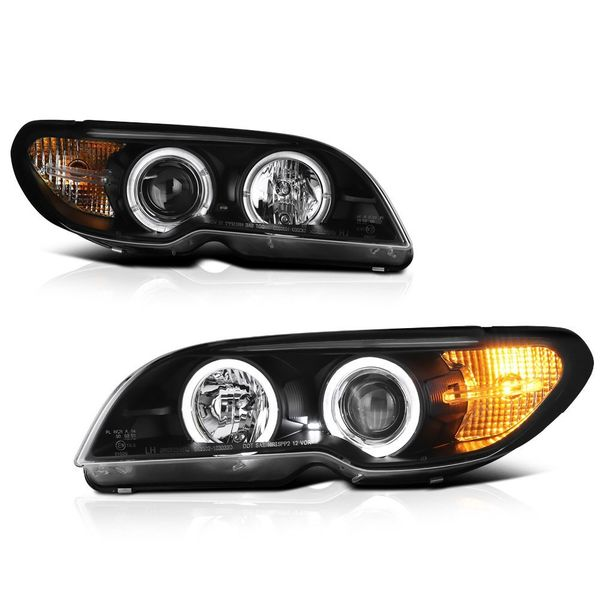 04-06 BMW E46 3-Series 2-Door Coupe Angel Eye Halo Projector Headlights - Black