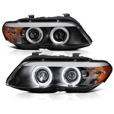 04-06 BMW E53 X5 [Factory Halogen Model]  LED DRL / CCFL Halo Projector Headlights - Black