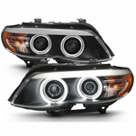 04-06 BMW E53 X5 [Factory HID Type] LED CCFL Halo Projector Headlights - Black