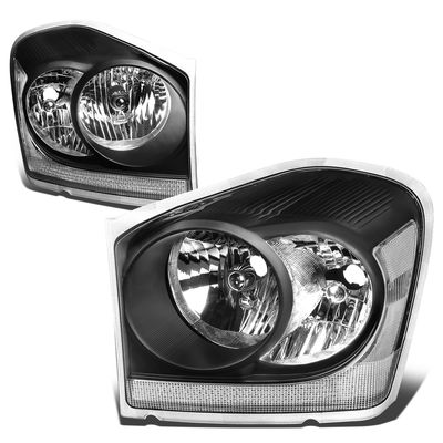 04-06 Dodge Durango Headlight Assembly (Driver & Passenger Side) - Black Clear