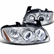 04-06 Nissan Sentra Dual Angel Eye Halo Projector Headlights - Chrome