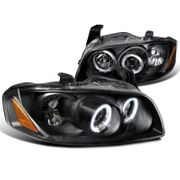 04-06 Nissan Sentra Dual Angel Eye Halo Projector Headlights - Gloss Black