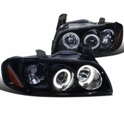 04-06 Nissan Sentra Dual Angel Eye Halo Projector Headlights - Glossy Black