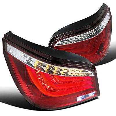 04-07 BMW E60 5-Series 525i/530i 4DR LED-Bar Style Tail Lights - Red Clear
