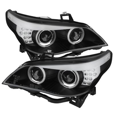 04-07 BMW E60 5-Series [Factory HID D2S] CCFL Angel Eye Projector Headlights - Black