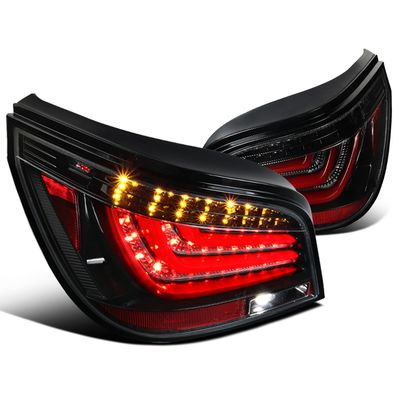 04-07 BMW E60 5-Series LED Bar Style Tail Lights - Glossy Black / Clear