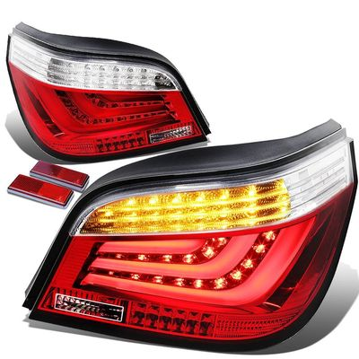 04-07 BMW E60/E61 5-Series 4-Door Pair of Clear & Red Lens LED Bar Brake+Signal Tail Light