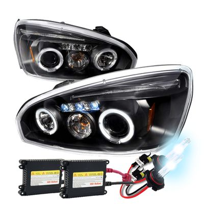 04-07 Chevy Malibu Dual Halo & LED Projector Headlights With HID Kit - Black