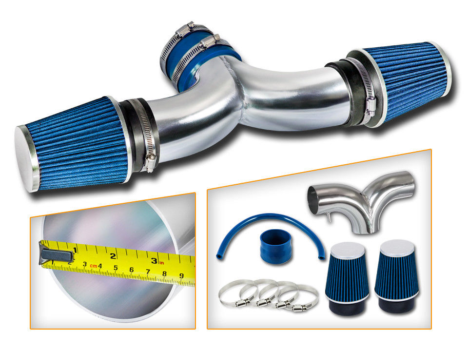 BLUE 2002-2007 DODGE RAM 1500 PICKUP 3.7L 4.7L V8 DUAL TWIN AIR INTAKE KIT