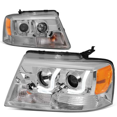04-08 Ford F150 / 06-08  Lincoln Mark LT 3D Halo Projector Headlights - Chrome