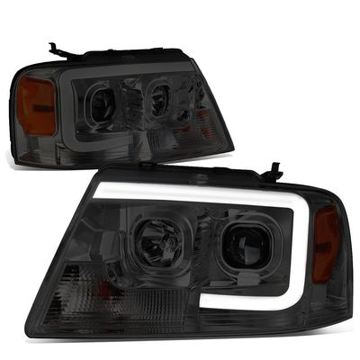 04-08 Ford F150 / 06-08 Lincoln Mark LT 3D LED Bar Projector Headlight - Smoked / Amber