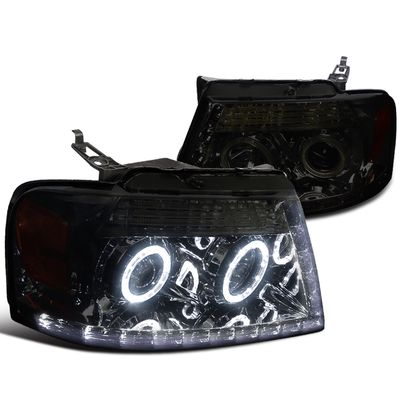 04-08 Ford F150 / 06-08 Mark LT R8 Style LED & Halo Projector Headlights - Smoked