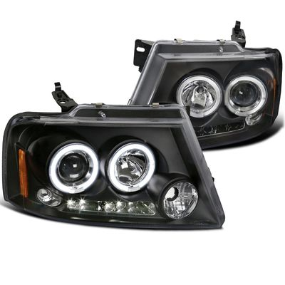 04-08 Ford F150 F-150 Angel Eye Halo LED DRL Projector Headlights - Black