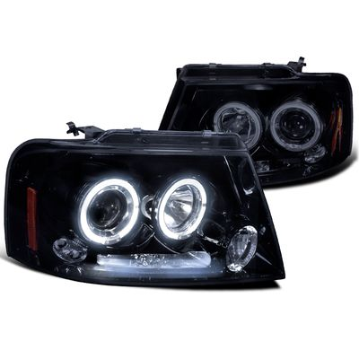 04-08 Ford F150 F-150 Angel Eye Halo LED DRL Projector Headlights - Gloss Black