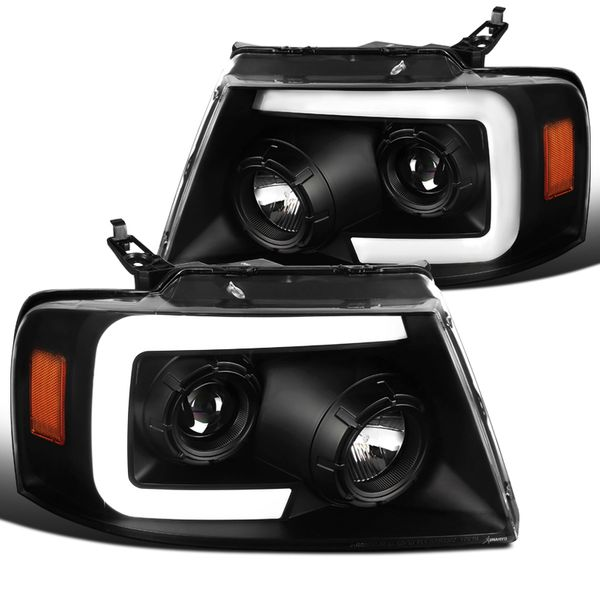 04-08 Ford F150 LED DRL / Sequential Signal Projector Headlights - Black