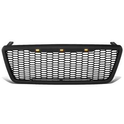04-08 Ford F150 Pickup [Amber LED Mesh Style] Replace Front Upper Grille - Black
