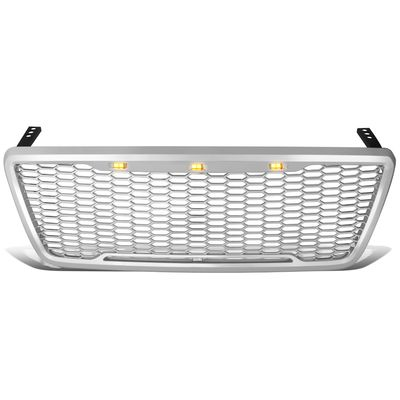 04-08 Ford F150 Pickup [Amber LED Mesh Style] Replace Front Upper Grille - Chrome
