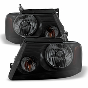 04-08 Ford F150 Replacement Headlights - Black Smoked