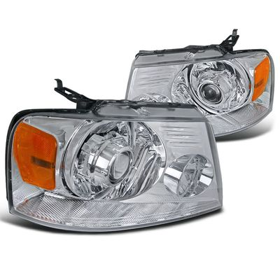 04-08 Ford F150 Retrofit Style Projector Headlights - Chrome
