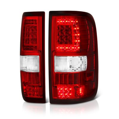 04-08 Ford F150 (Styleside) V2 C-Shaped LED Tail Lights - Red Clear