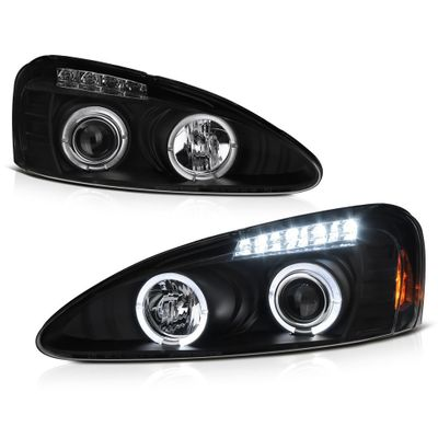 04-08 Pontiac Grand Prix Dual Angel Eye Halo & LED Strip Projector Headlights - Black