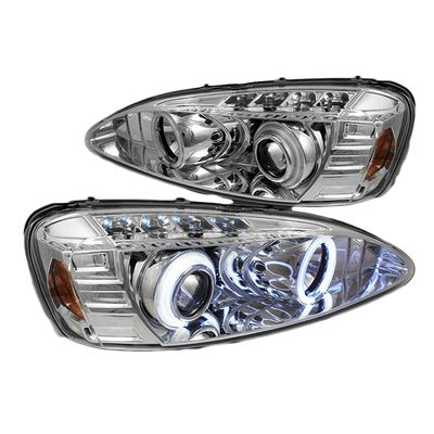 04-08 Pontiac Grand Prix Dual Angel Eye Halo & LED Strip Projector Headlights - Chrome