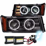 HID Xenon + 04-10 Chevy Colorado CCFL Halo Projector Headlights - Black