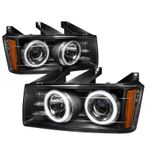 04-12 Chevy Colorado / GMC Canyon CCFL Angel Eye Halo Projector Headlights - Black