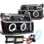 HID Xenon + 04-10 Chevy / GMC Colorado Angel Eye Projector Headlights - Black