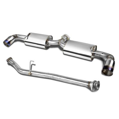 """04-11 Mazda RX-8 Dual Bolt-On Stainless 3.5"""" Tip Cat Catback Exhaust - Burnt Tip"""
