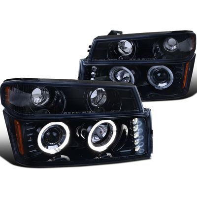 04-12 Chevy Colorado / GMC Canyon Halo Projector Headlights + Bumper Signal - Glossy Black